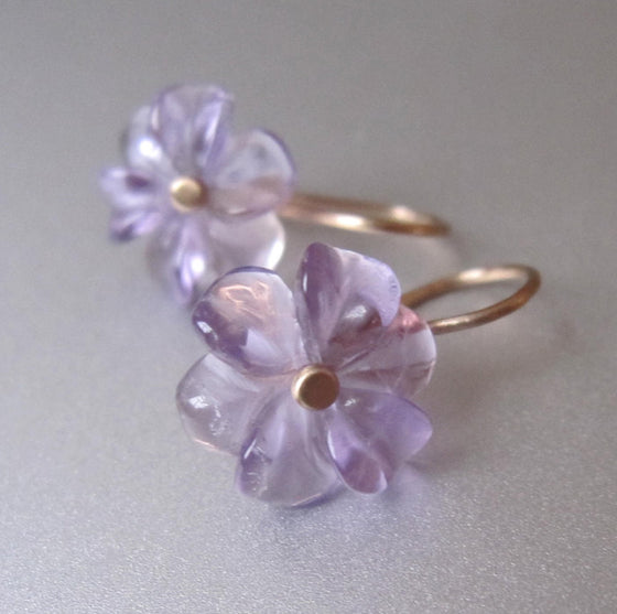 amethyst flower drops solid 14k gold earrings