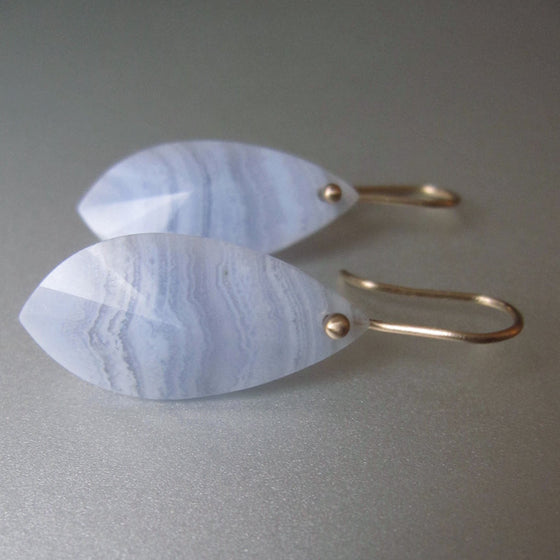faceted blue lace agate drops solid 14k gold earrings