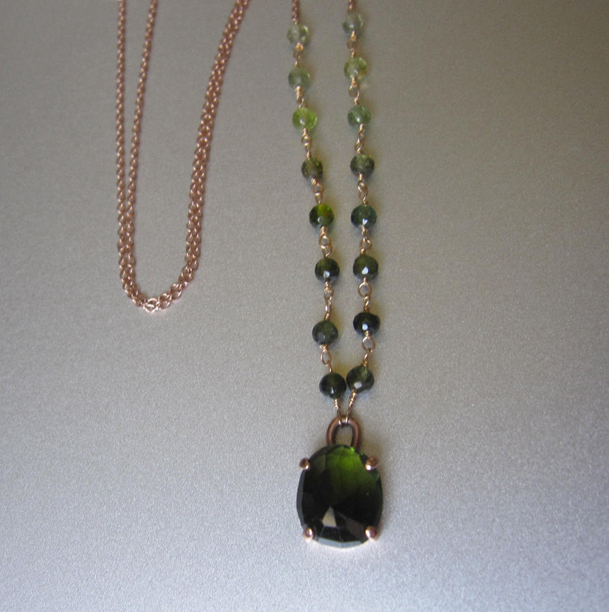 Rose Cut Green Tourmaline Solid 14k Rose Gold Necklace