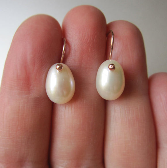 Pearl and Solid 14k Rose or Yellow Gold Drop Earrings