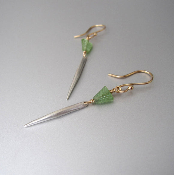 Green Tourmaline and Solid Gold and Silver Spike Mixed Metal Earrings