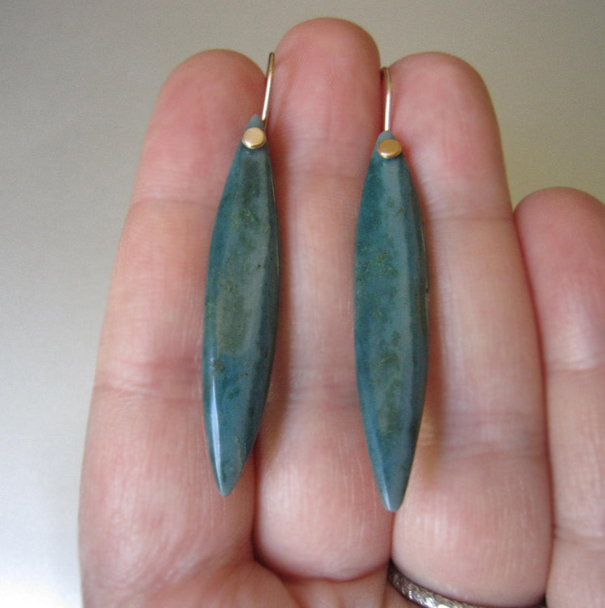 Long Wave Ocean Jasper Marquise Solid 14k Gold Earrings