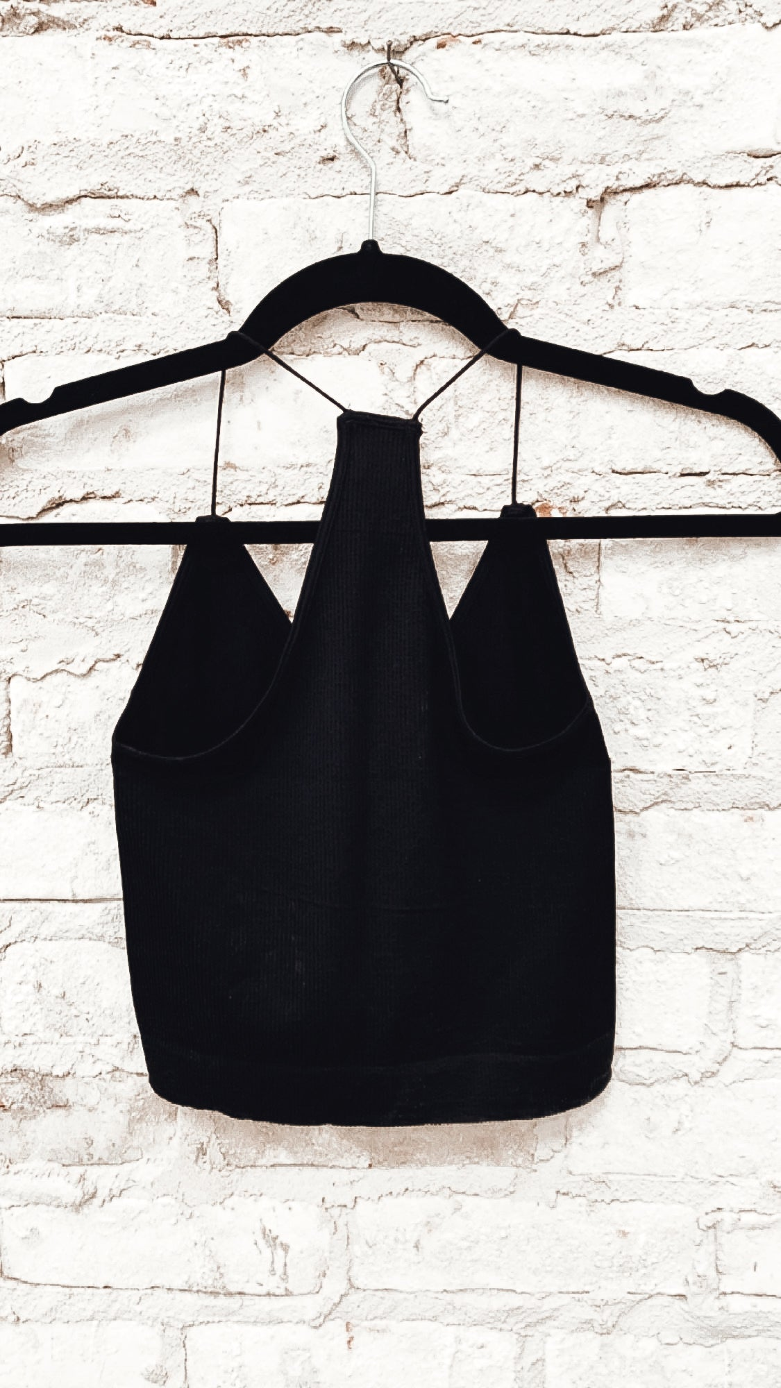 Ribbed Spaghetti Racer Back Bralette *BLACK