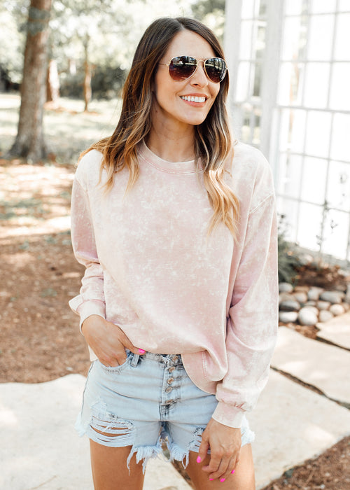 Mineral Wash Sweater *MISTY ROSE