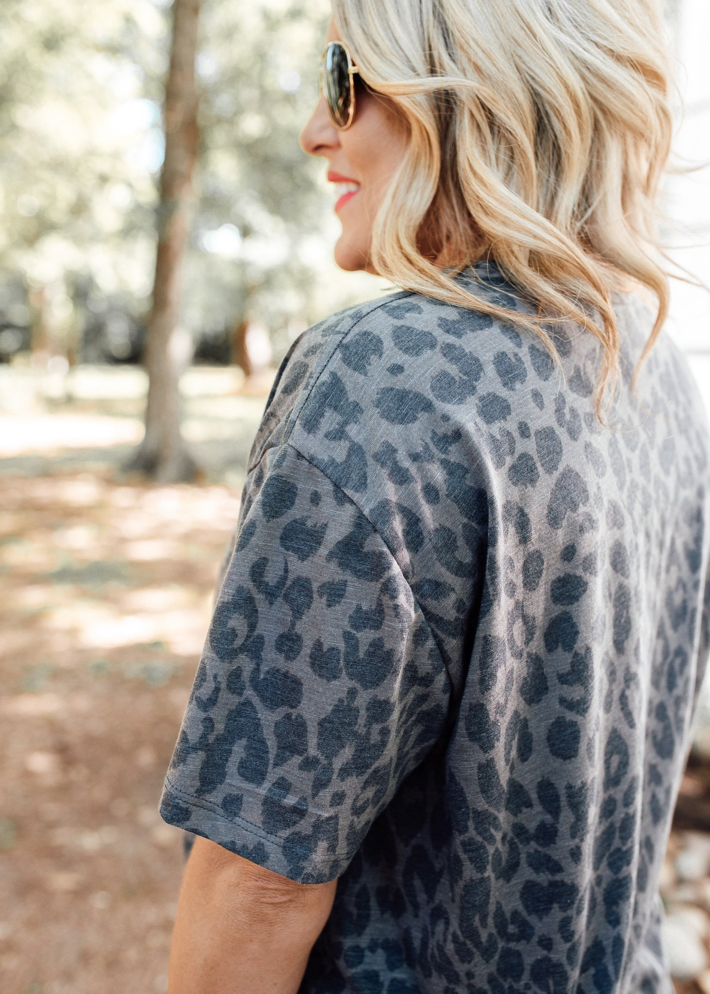 Charcoal Grey Leopard Top (S-3X)