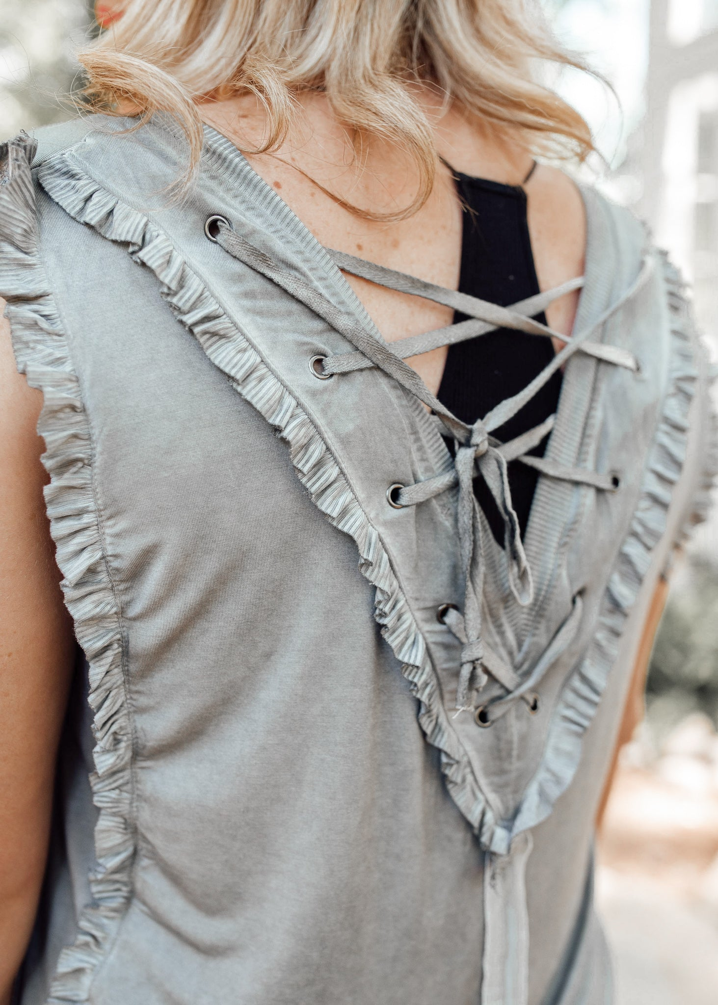 Ruffle Lace Back Top *GREY