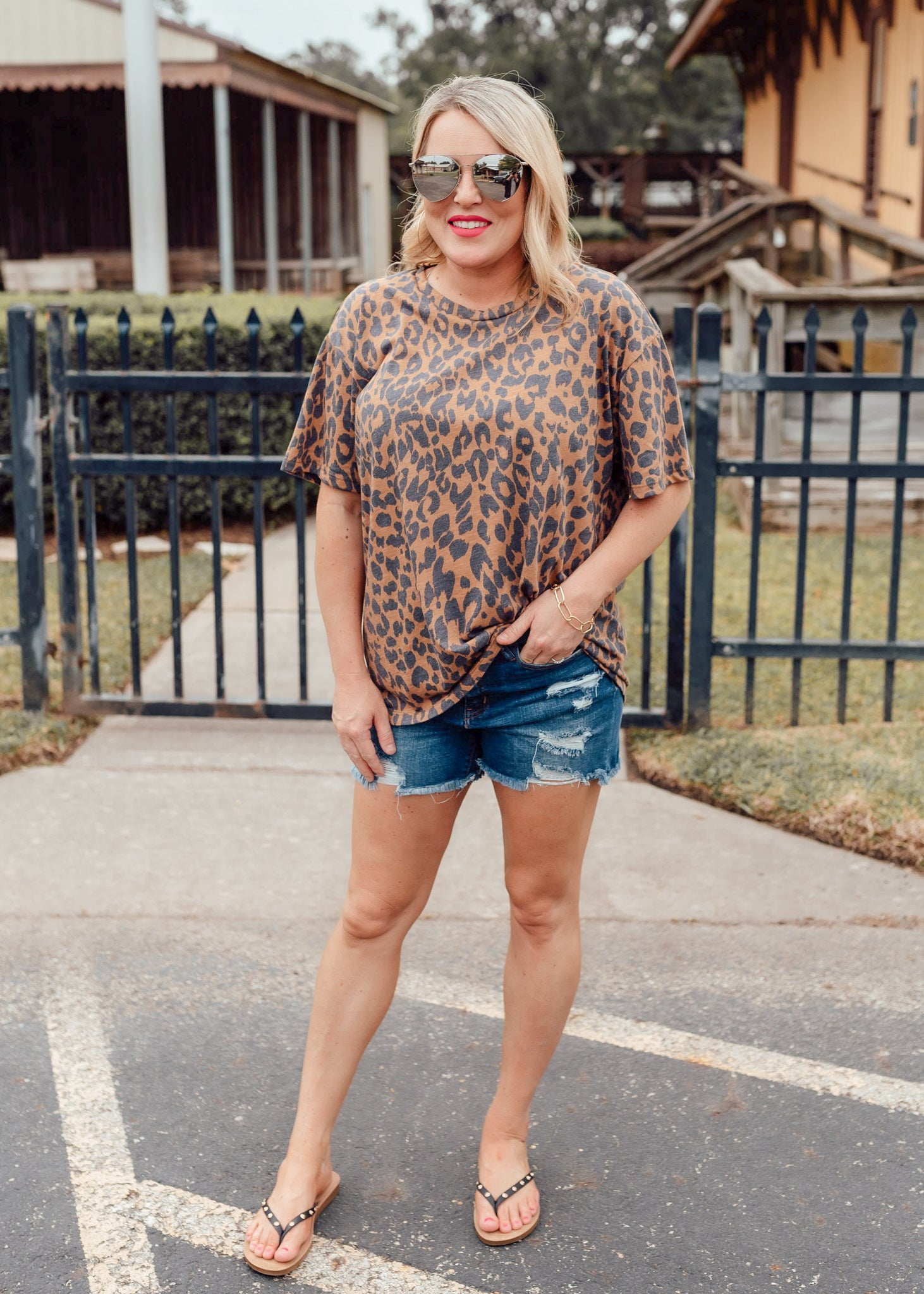 Brown Leopard Top (S-3X)