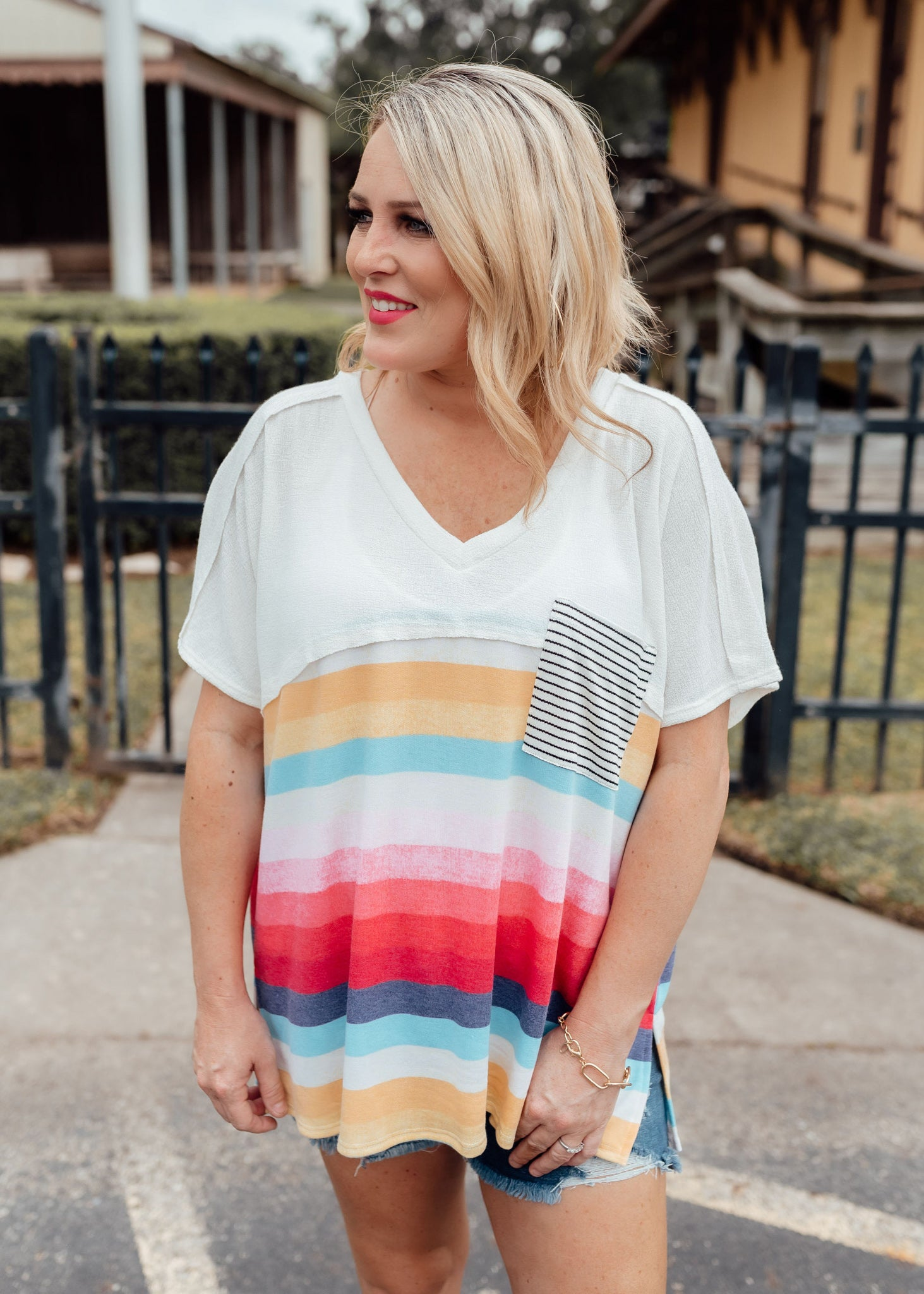 Opal Multi Stripe Top (CAN FIT XL)