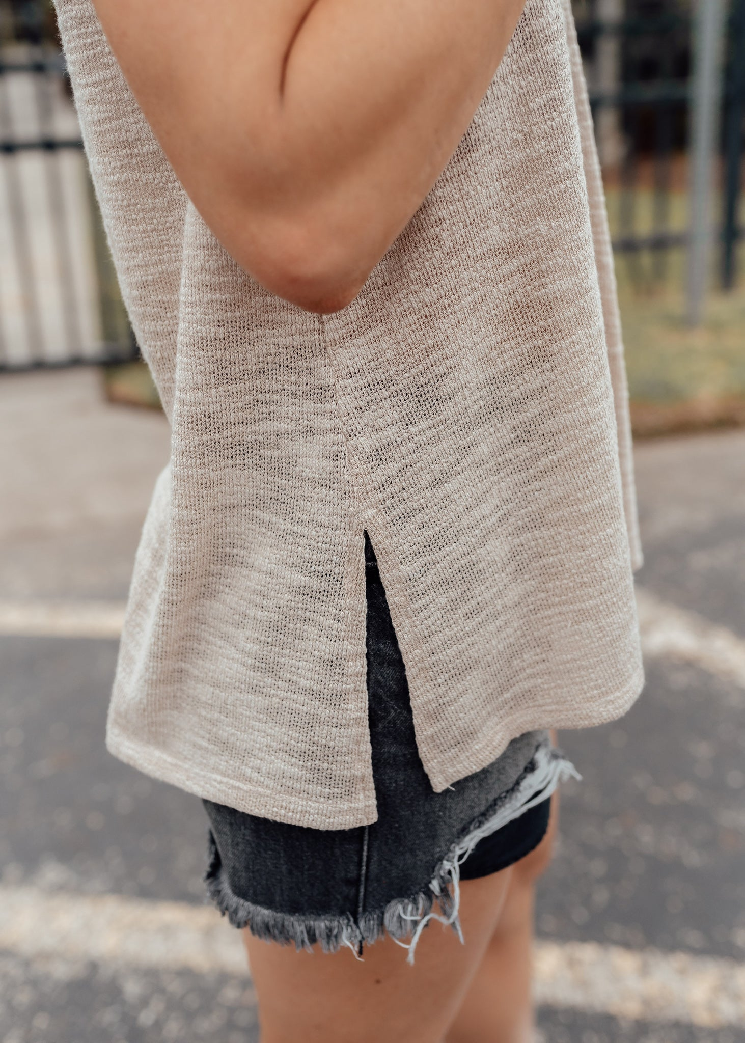 Taupe Sleeveless Knit Top