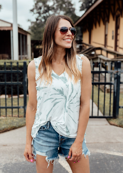 Ruffle Lace Back Top *TIE DYE INDIGO