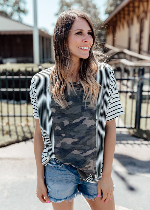 Oversized Stripe Camo Top