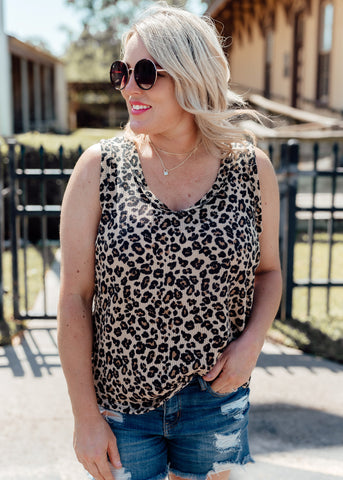 Green Leopard Sleeveless Top (S-3X)
