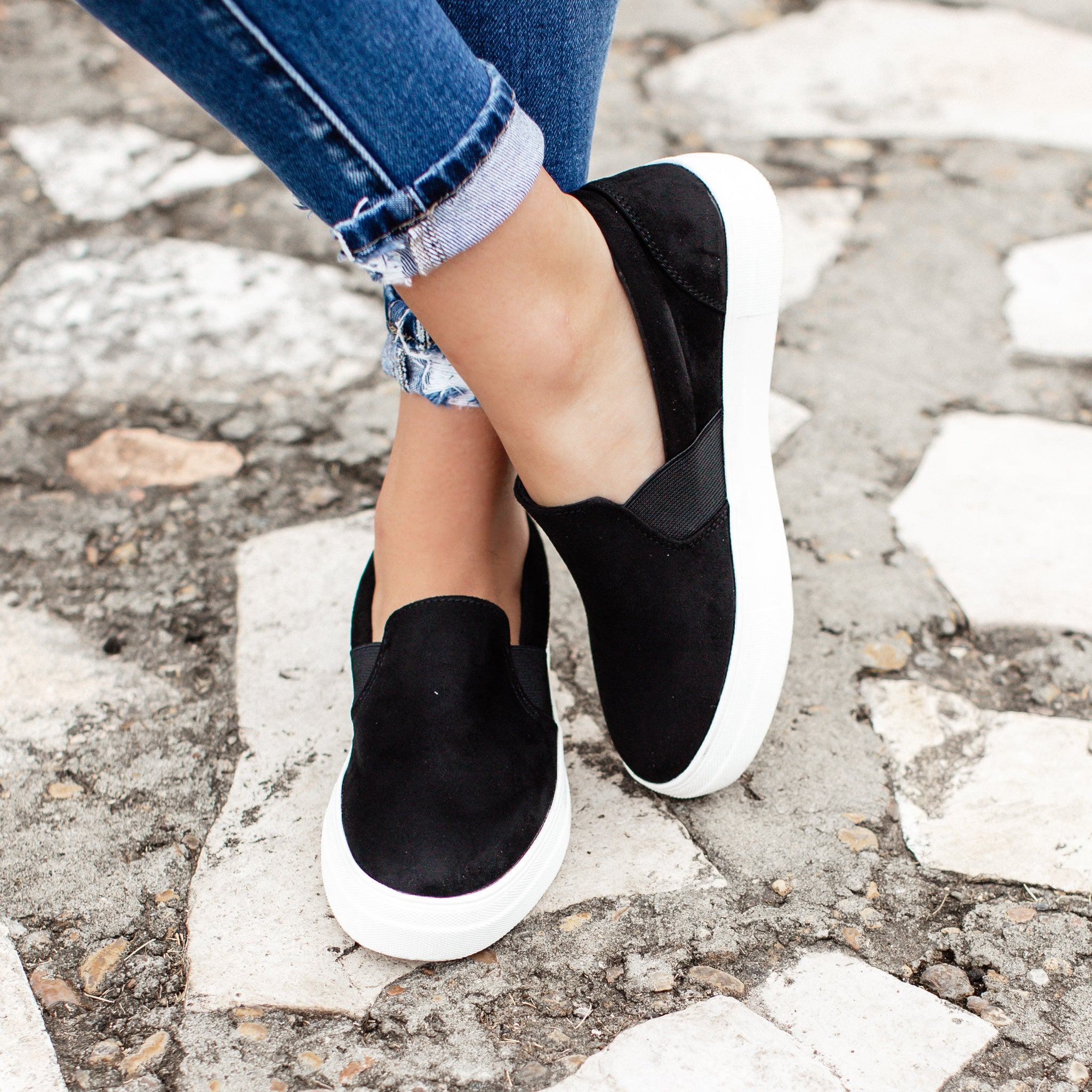 Black Suede Slip On Shoes (5.5-11)