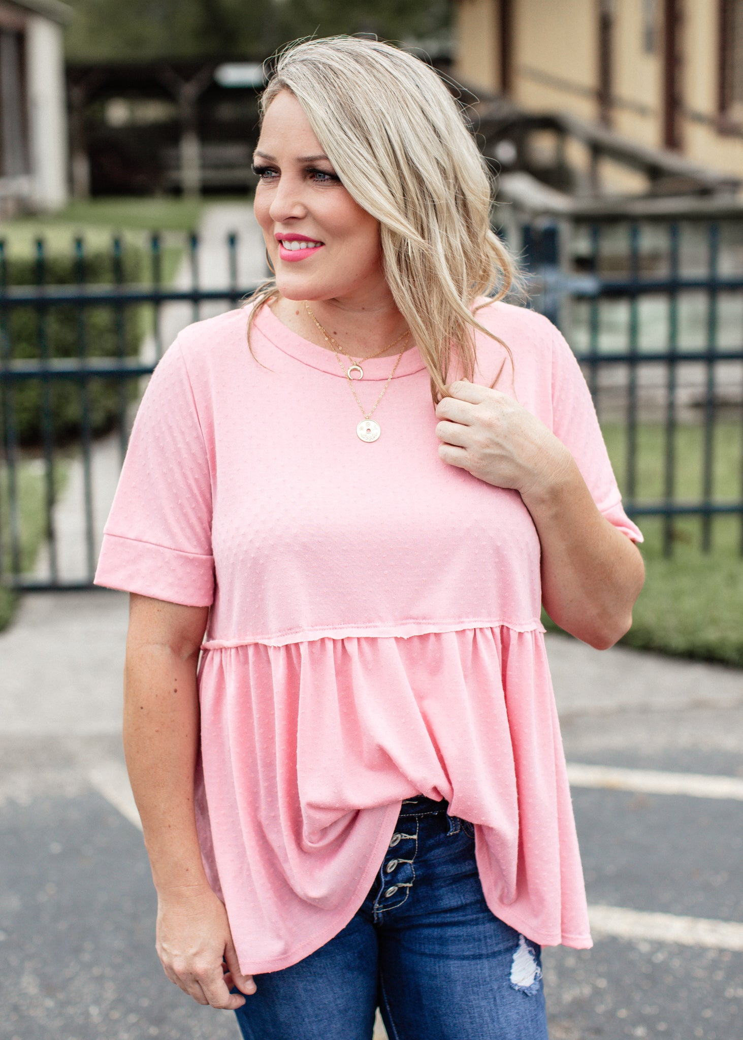 Dotted Baby Doll Top *PINK