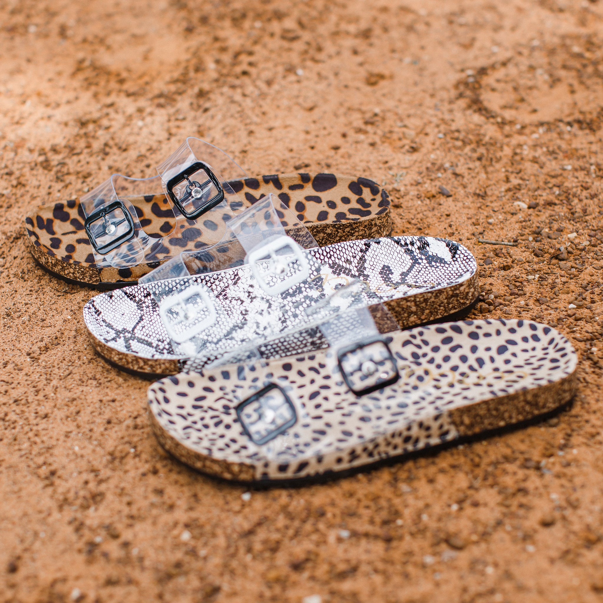 Clear Buckle Sandals (5.5-10) SIZE UP 1/2 SIZE!! **CHEETAH