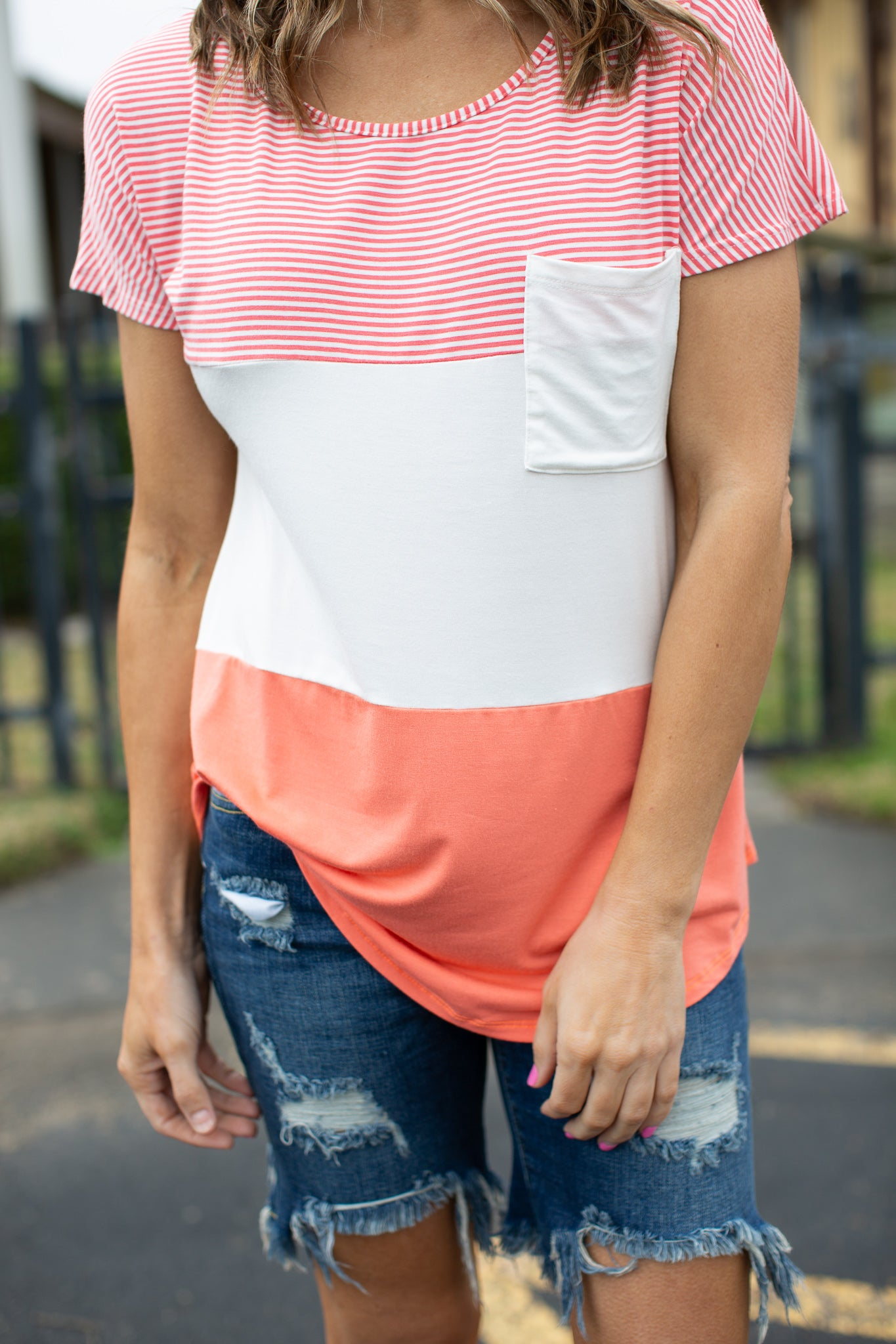 Pink and Coral Color Block Top (S-3X)