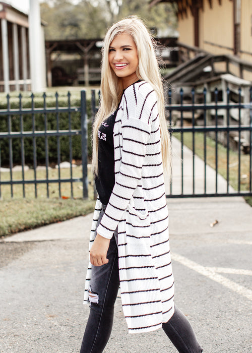 Stripe Cardigan *IVORY/BLACK