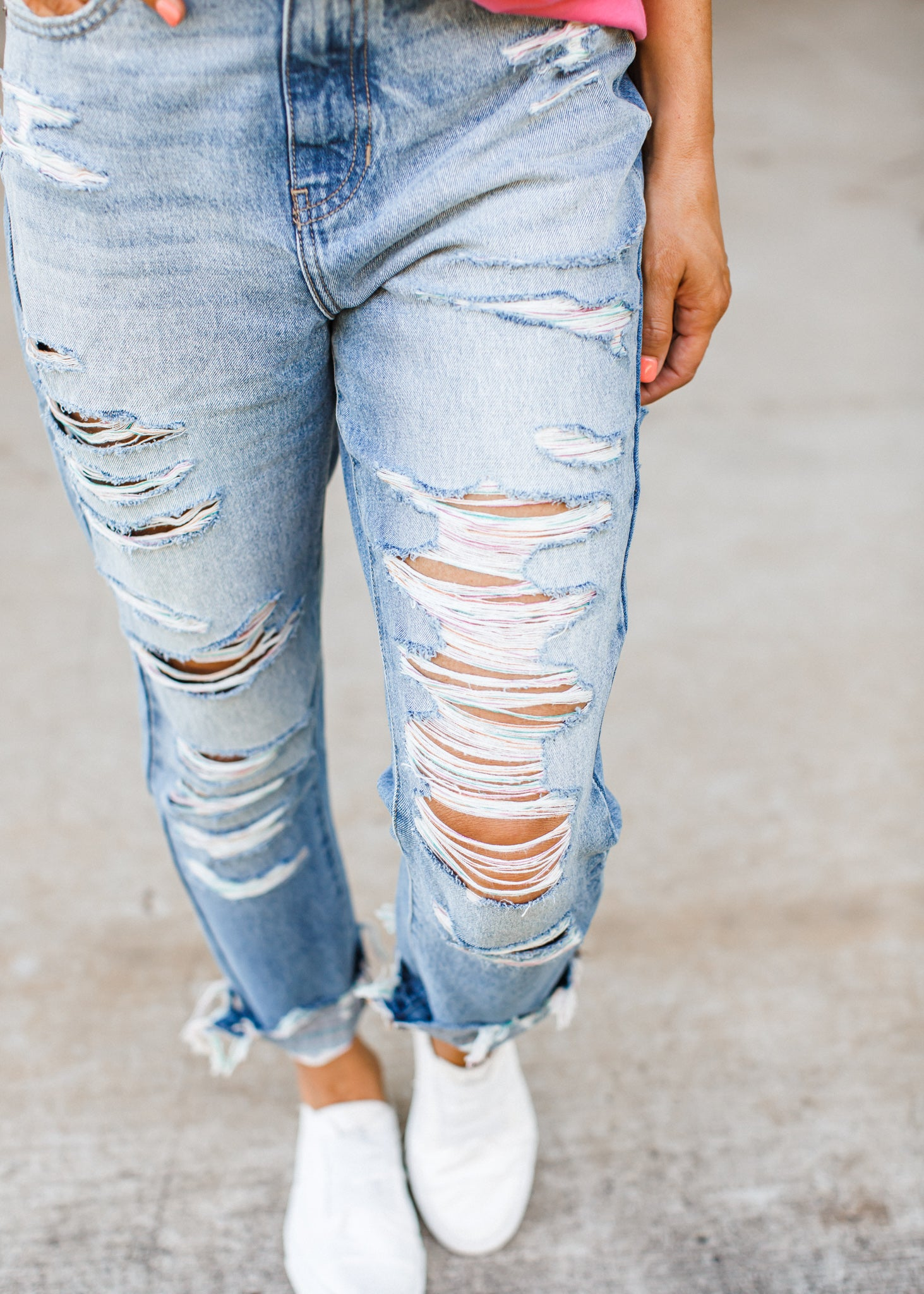 Kancan Rainbow Distressed Jeans *100% Cotton!! *READ SIZING