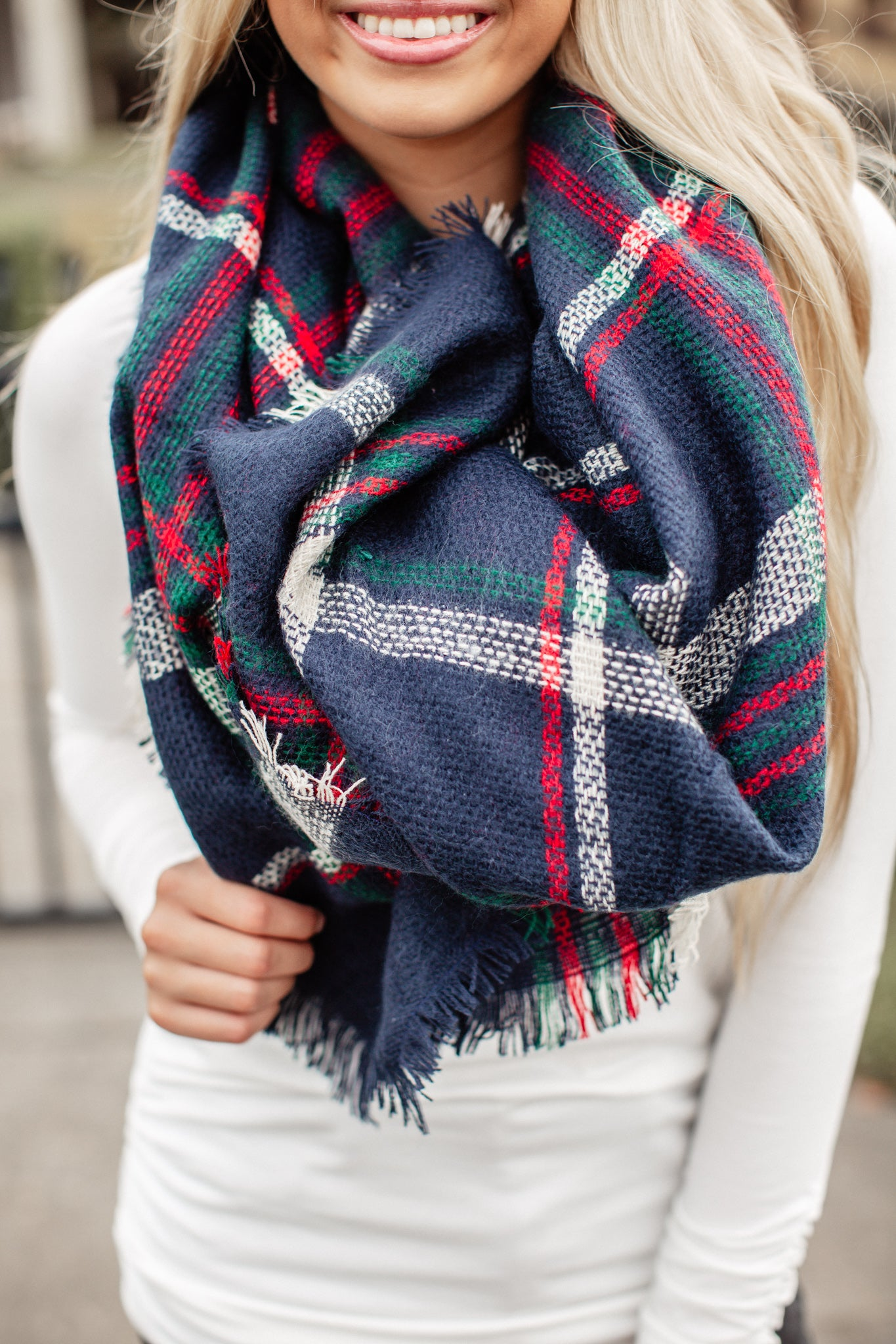 Blanket Scarf Dark Blue Checkered