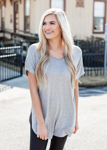 Basic Pocket Top (S-XL) *Heather Grey