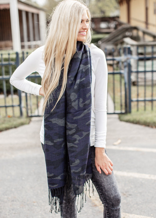 Long Scarf *DARK BLUE CAMO