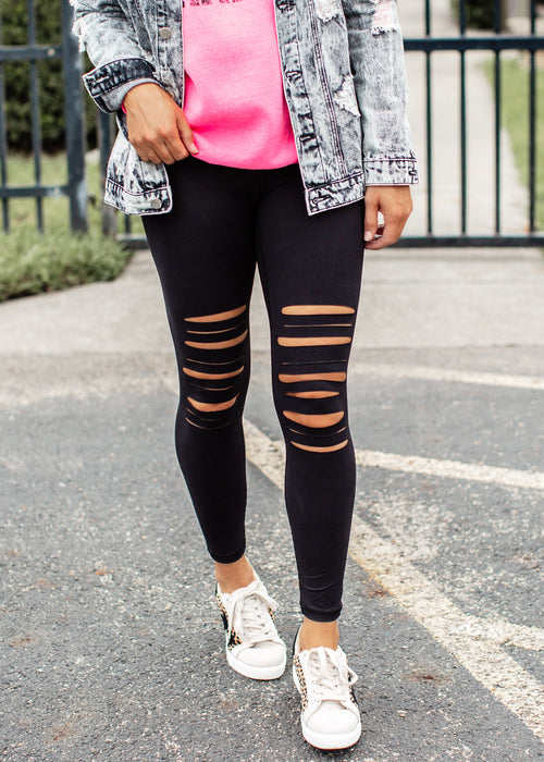Black Slit Leggings (S-3X)