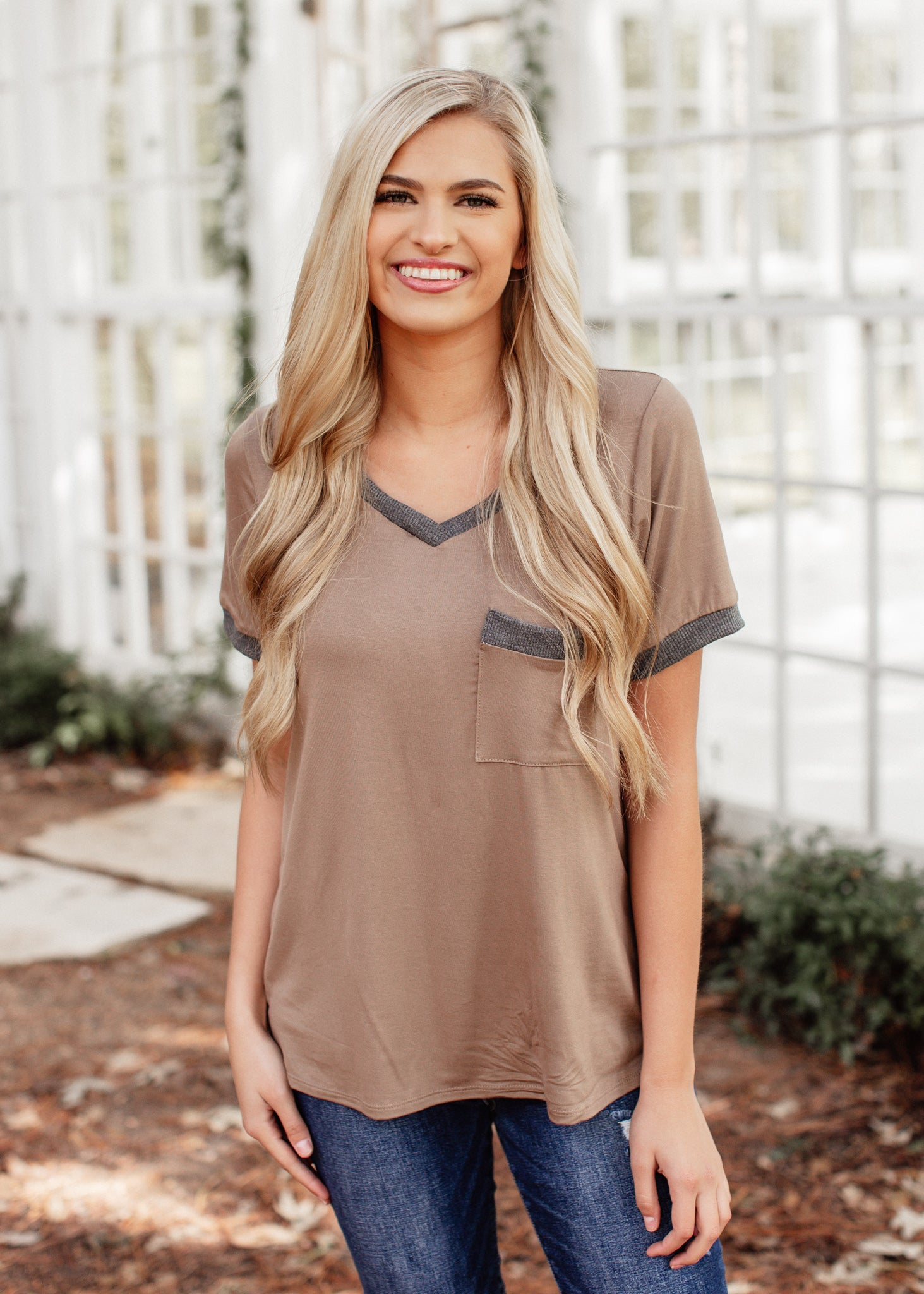 Taupe Grey V-neck Top (S-3X)