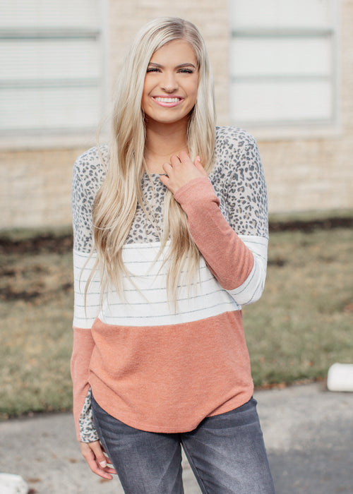 Brushed Leopard Color Block Top (S-XL)