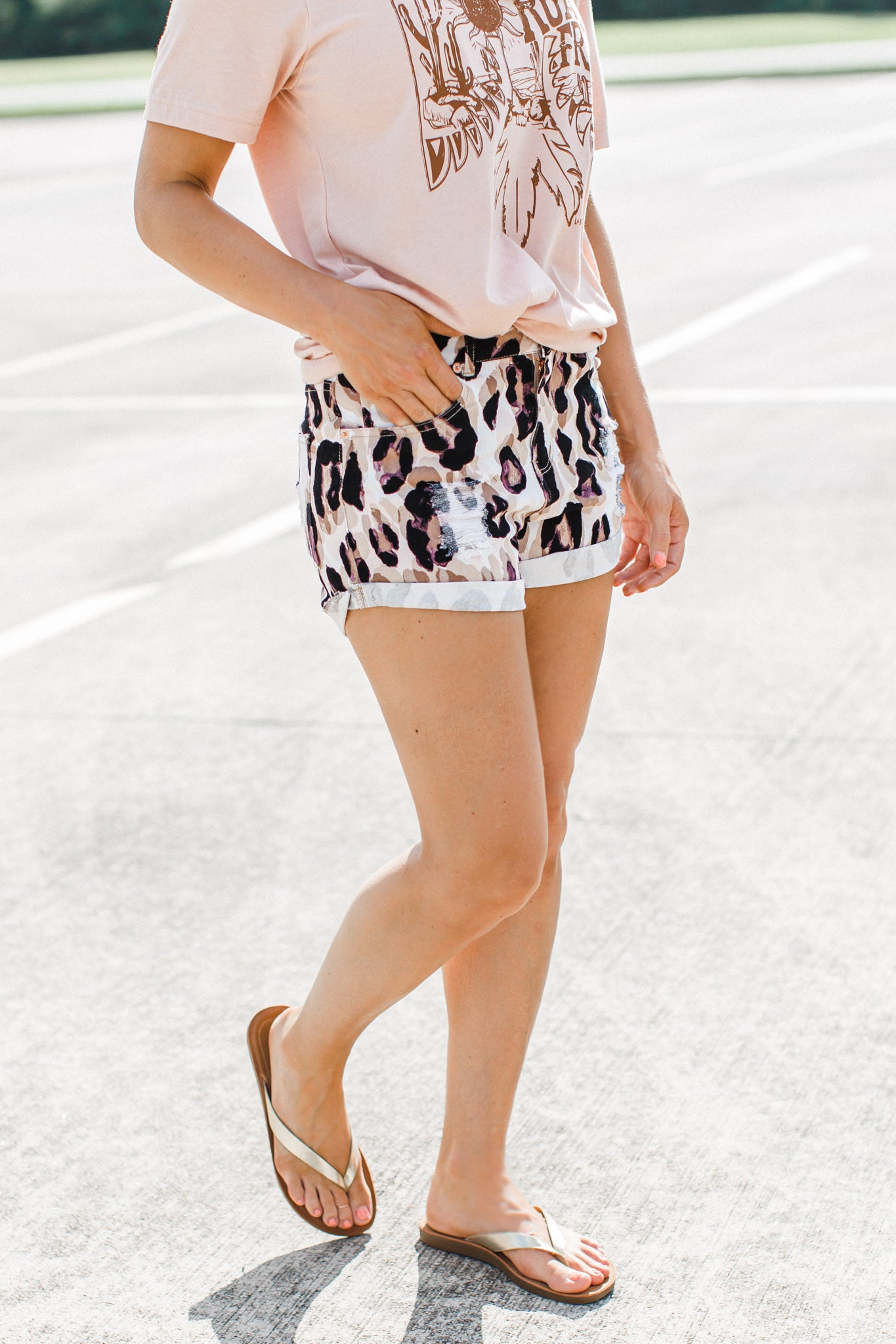 Leopard Rolled Shorts *READ SIZING