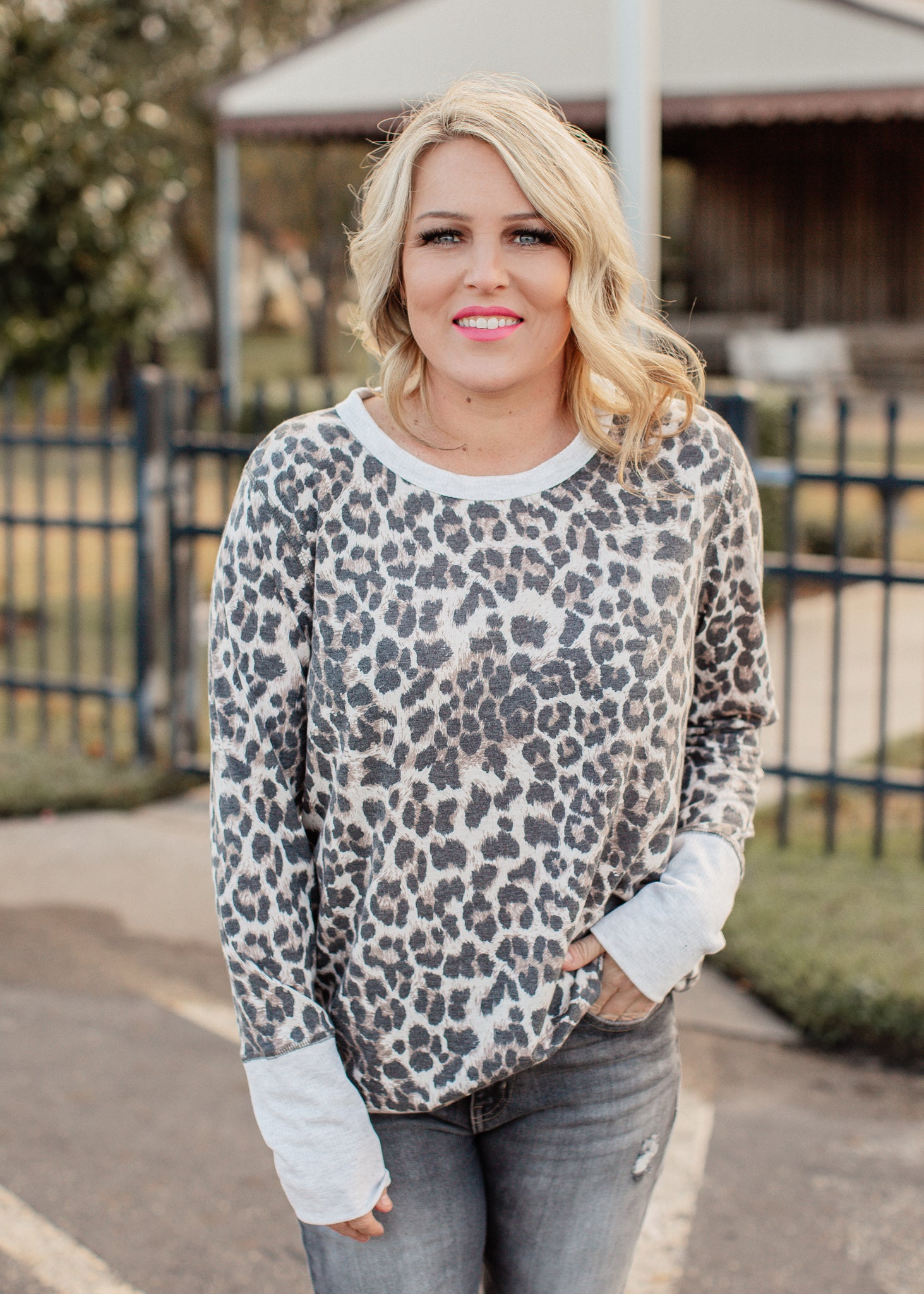 Courtney Leopard Top (S-3X)