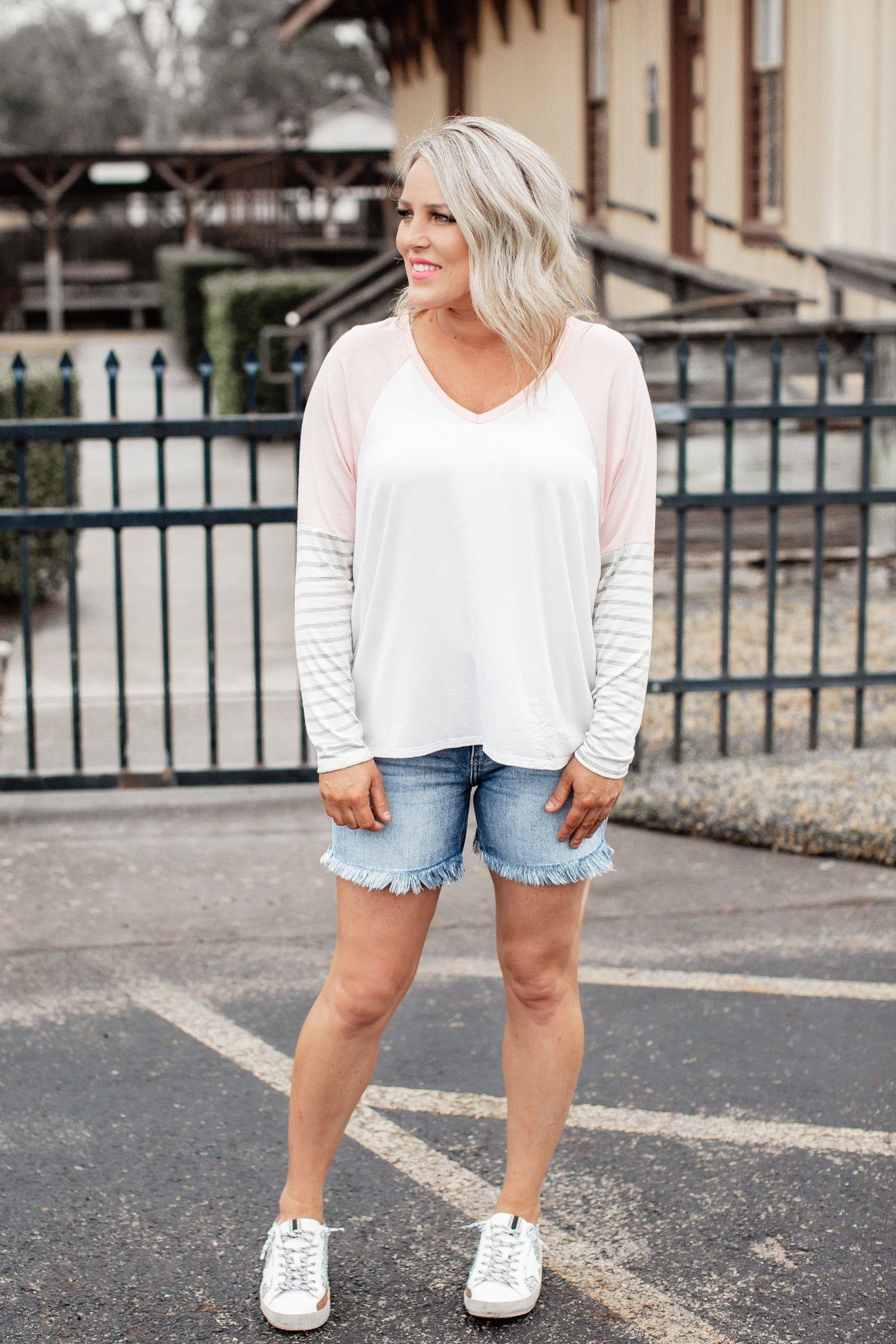 Cassie Color Block Top *BLUSH