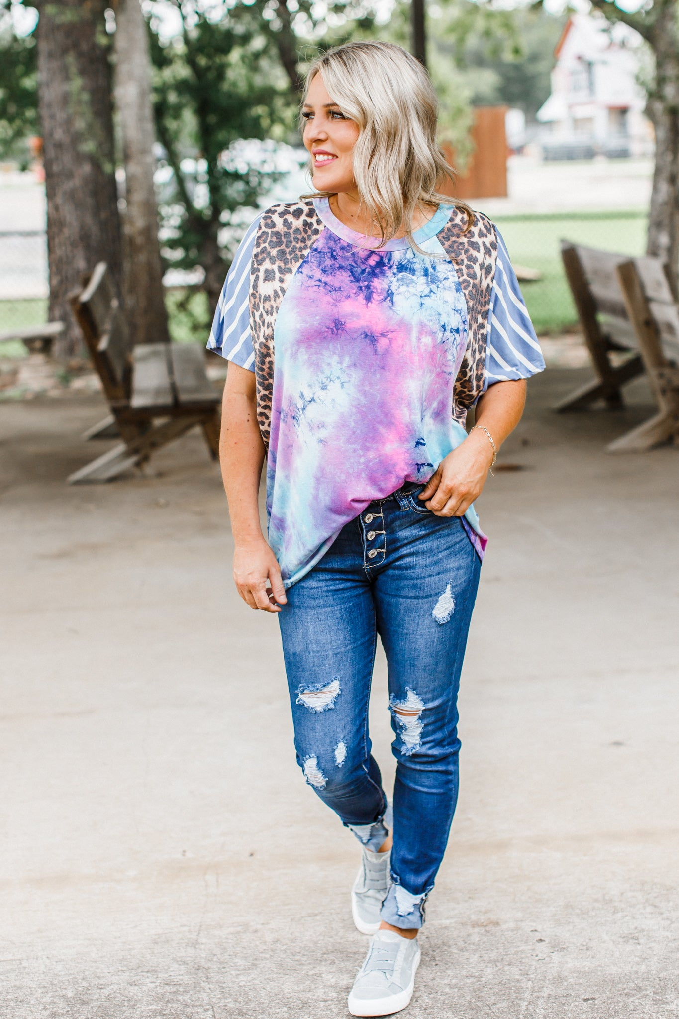 Mix It Together Tie Dye Top (S-3X)