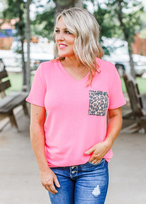 Neon Pink Leopard Pocket Top