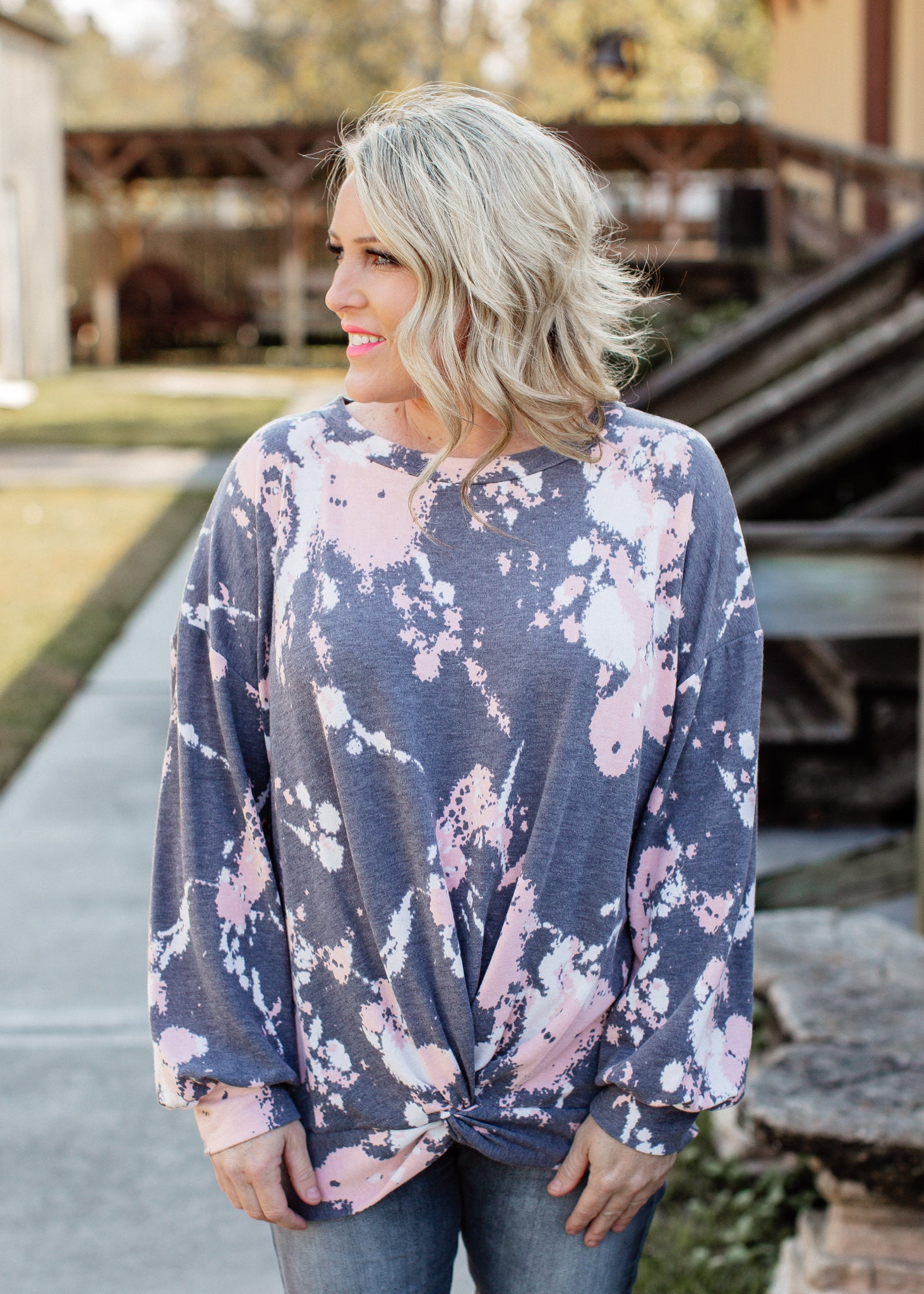 Splatter Twist Knot Top