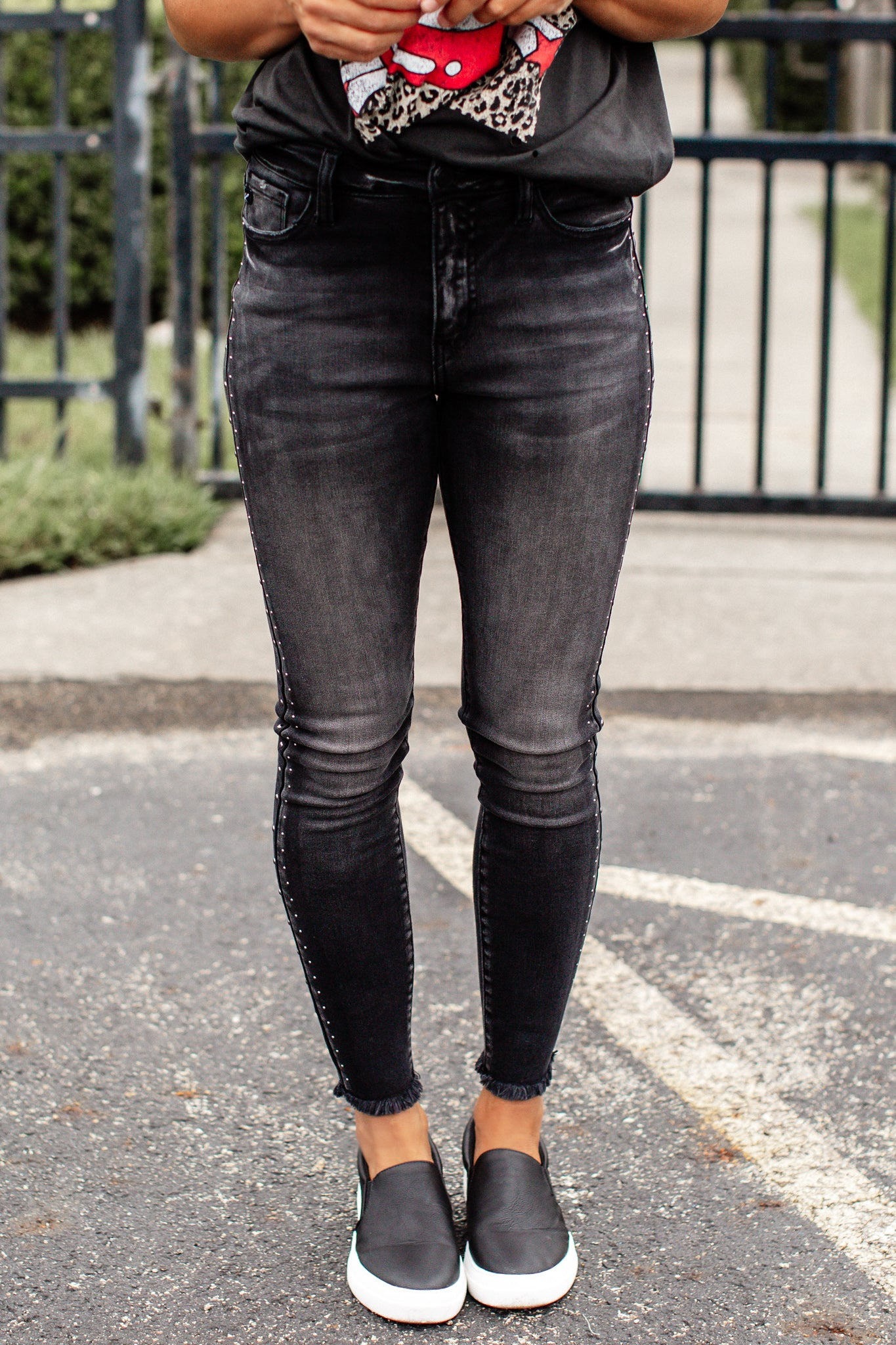 Faded Black Stud Kancan Jeans (1-15)