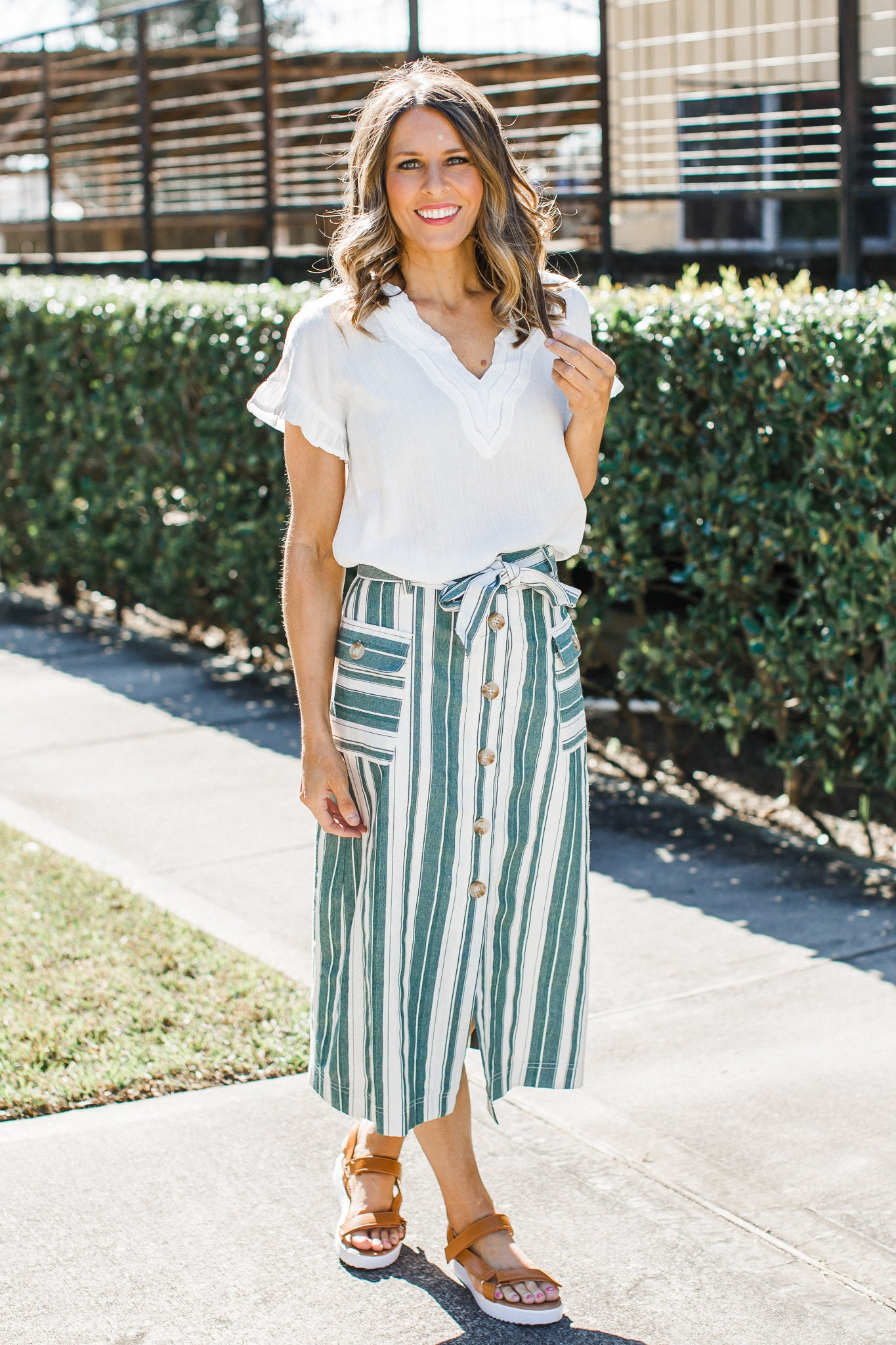 Stripe Button Down Skirt