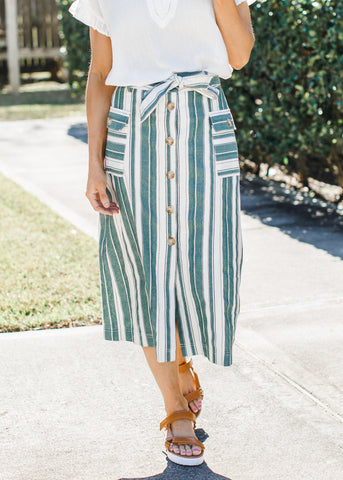 Pleated Snake Midi Skirt