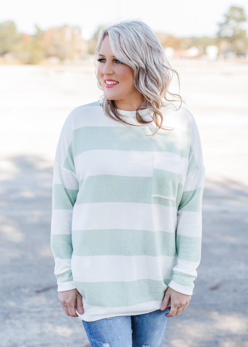 Brushed Stripe Sage Tunic ( S-XL )