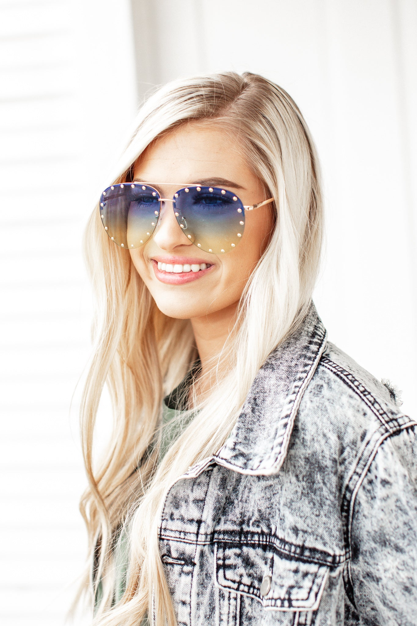 Stud Sunglasses *BLUE/YELLOW