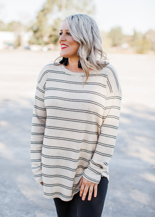 Poppy Stripe Tunic (S-3X) *Taupe
