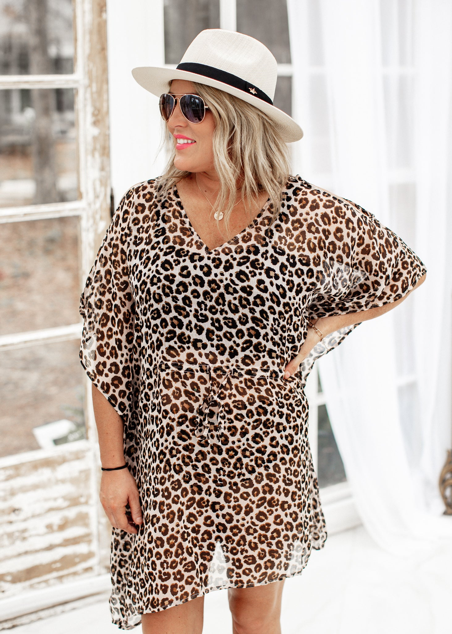 Leopard Drawstring Cover Up
