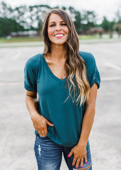 Hunter Green Boyfriend V-Neck Top ( S-3X ) Size Down!