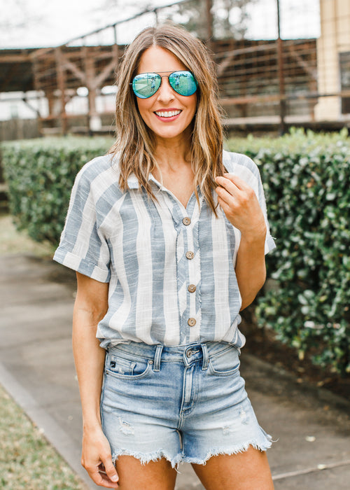 Linen Stripe Button Top