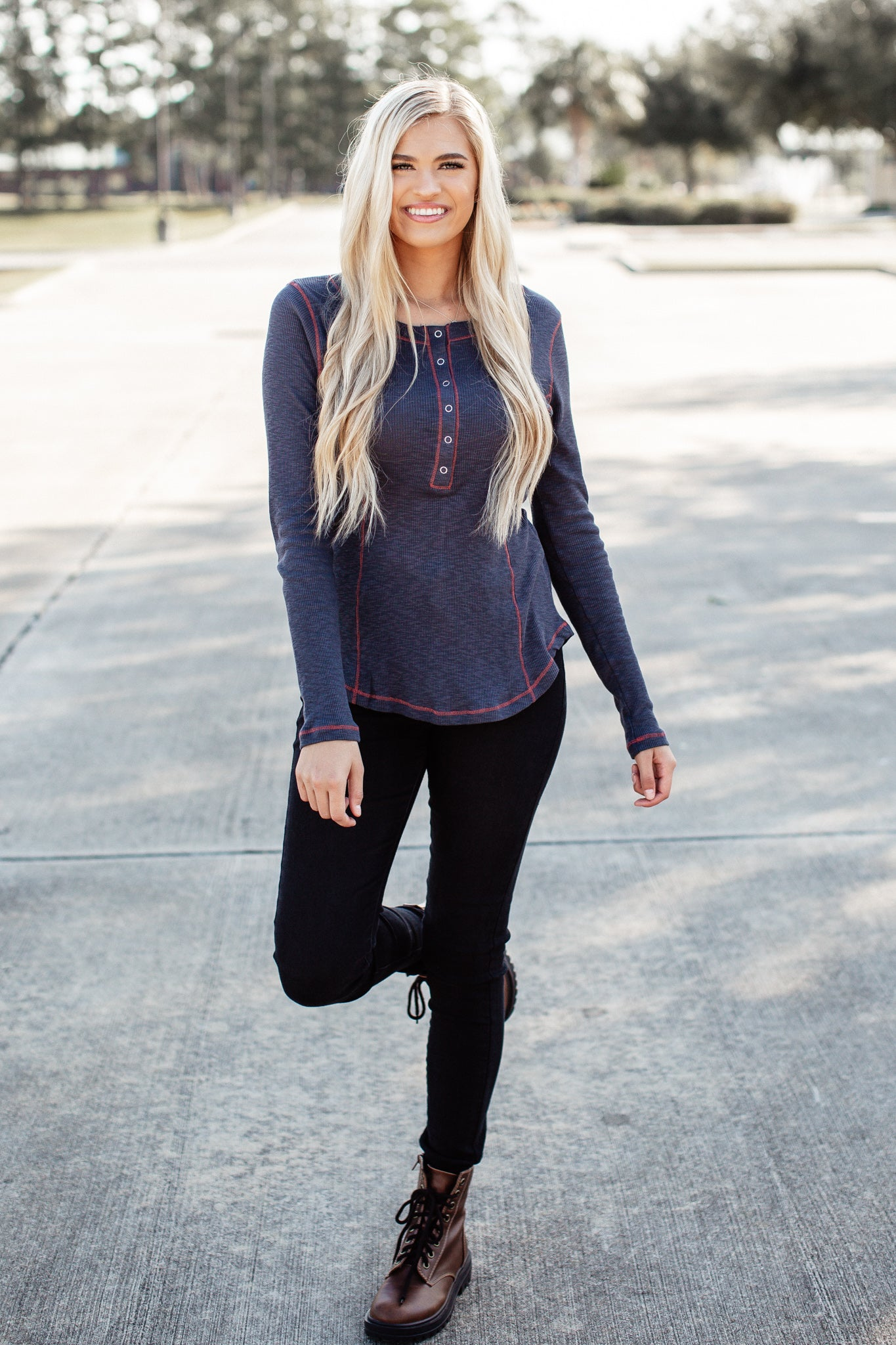 Navy Snap Button Top
