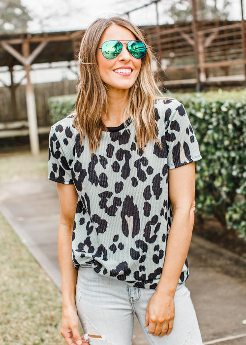 Colored Leopard Top *SAGE