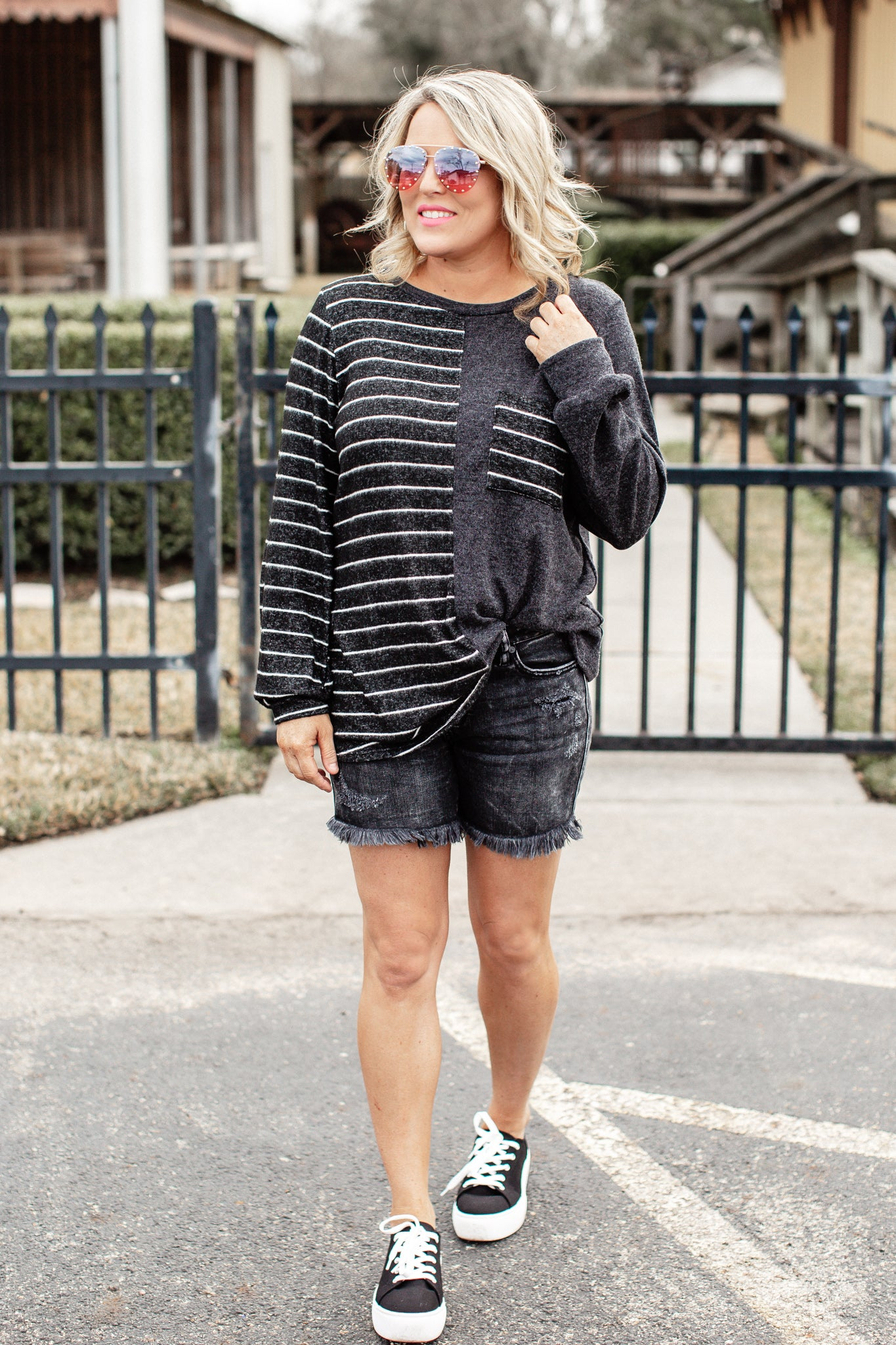 Stripe Charcoal Split Top