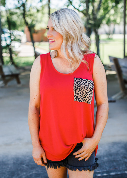 Lizz Leopard Pocket Top (S-XL) **RUBY
