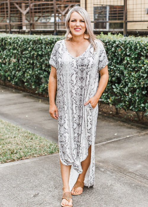 Snake Print Maxi Dress (can fit XL) *SIZE DOWN