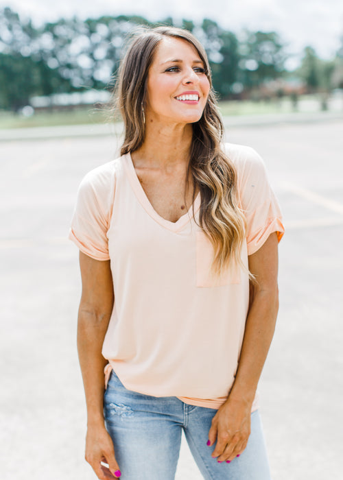 Peach Boyfriend V-Neck ( Can Fit XL )