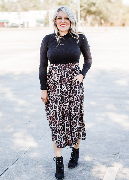 Leopard and Black Dress ( S-XL )